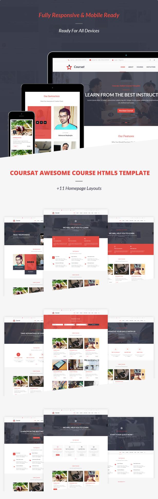Coursat – Responsive Course HTML5 Site Template
