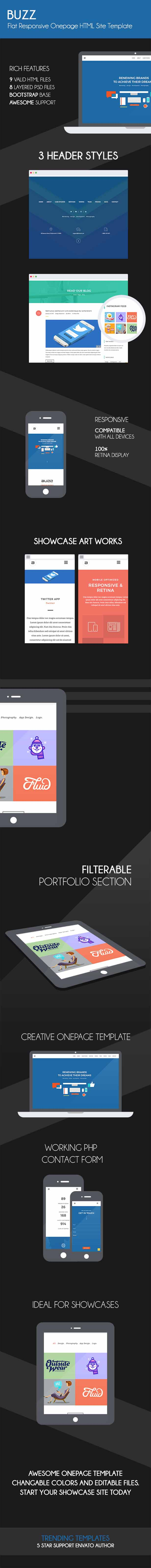 Buzz - Flat Responsive Onepage HTML Site Template